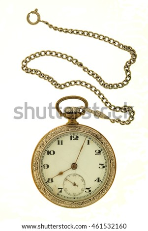 Antique  watch a chain on a white background.