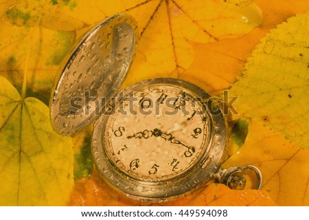 Antique watch with raindrops on the face against the background of autumn leaves (as an autumn or fall background), retro style