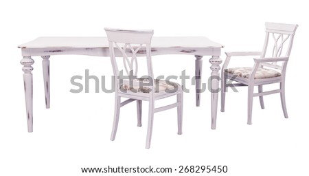 antique white dining table and chairs isolated on a white background - stock photo
