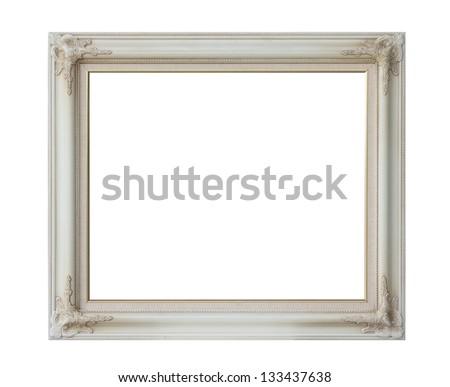 antique white frame isolated on white background - stock photo