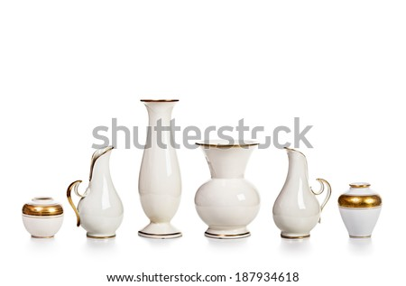 Antique white porcelain vases collection isolated on white background - stock photo