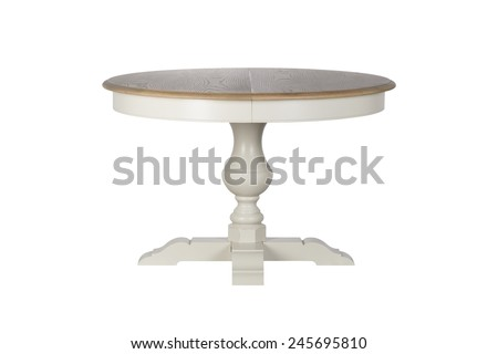 Antique white wooden round table isolated on white background
