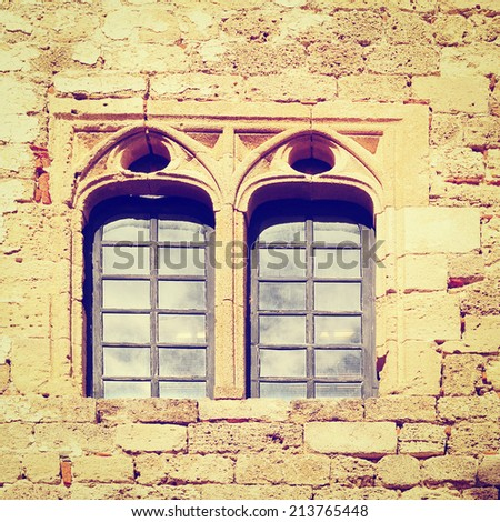 Antique Windows on the Greek Island of Rhodes, Instagram Effect - stock photo