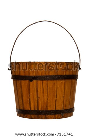 Antique wood bucket reproduction isolated over white