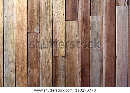 Antique wood wall outside the house - stock photo