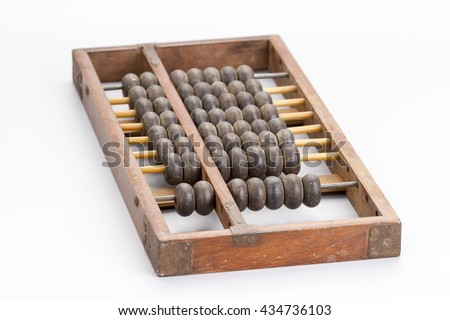 Antique wooden abacus on white background