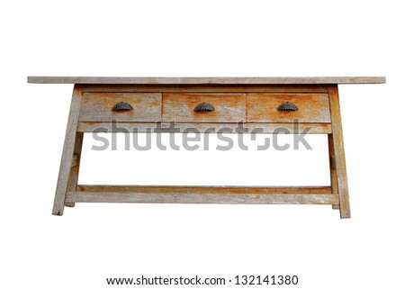 Antique wooden chair isolate on white background (Clipping Path) - stock photo