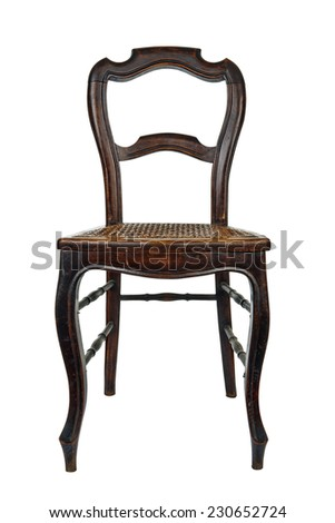 Antique wooden chair with cane isolated on white - stock photo
