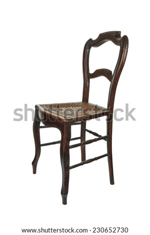 Antique wooden chair with cane isolated on white - 3/4 Front view