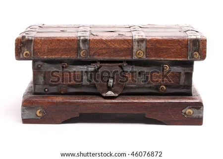 antique wooden chest isolated on white