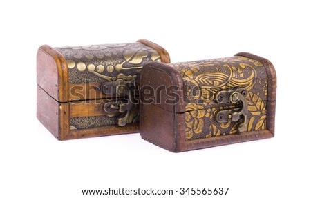 antique wooden chest isolated on white background