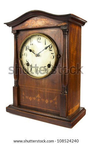 Antique wooden clock on a white background - stock photo