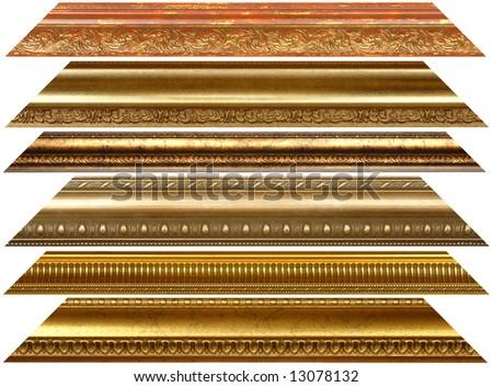 Antique wooden decorative golden borders - stock photo