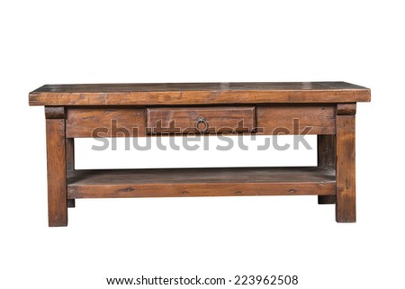 Antique wooden desk isolated on white background