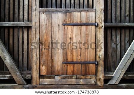 Antique wooden door. - stock photo