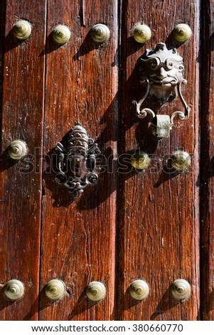 Antique wooden door at Old Havana on Cuba - stock photo