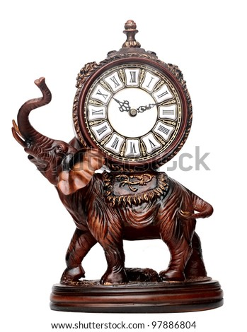 antique wooden elephant isolated over white - stock photo