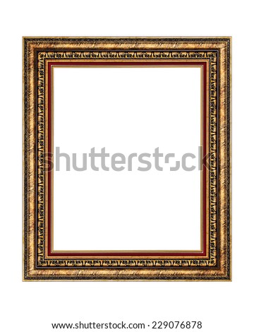 Antique wooden frame isolated on white background. - stock photo