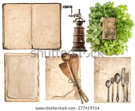Antique wooden kitchen utensils, old cook book, used paper pages and herbs isolated on white background. Grandma's recipe book concept - stock photo