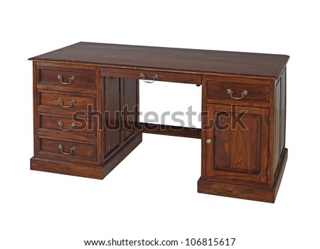 Antique wooden office desk isolated on white background - Antique Desk Stock Images, Royalty-Free Images & Vectors
