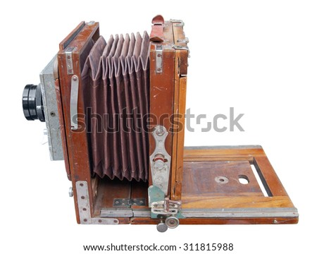 Antique wooden photo camera - stock photo