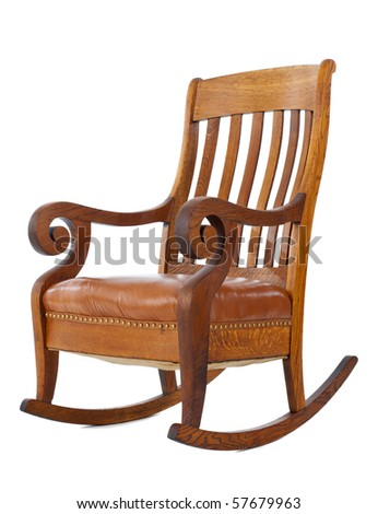 Antique wooden rocking chair isolated on white background
