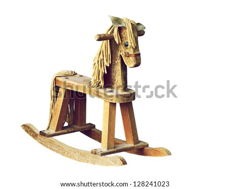 Antique wooden rocking horse isolated on white.