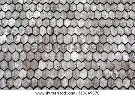 Antique wooden roof pattern detail texture background. - stock photo