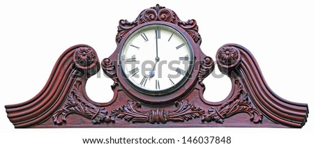 Antique wooden wall clock isolated on white background - stock photo