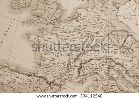Antique world map, Europe