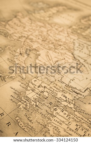 Antique world map, Greece and Europe