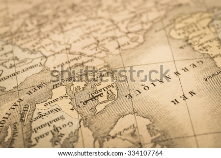 Antique world map, Northern Europe