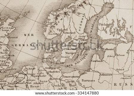 antique world map northern europe