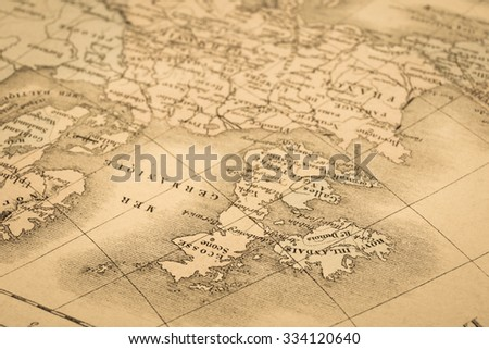 Antique world map, United Kingdom