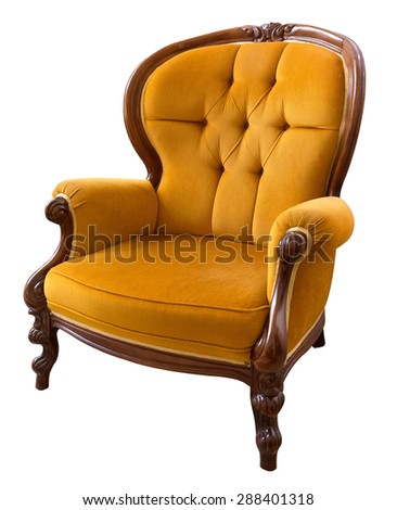 Antique yellow  armchair isolated on white background - stock photo