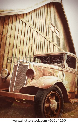 Antiqued Truck and Barn - stock photo