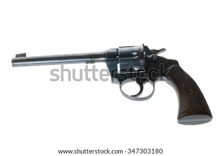 AntiqueTarget revolver in .22 caliber isolated on white - stock photo