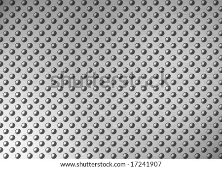 antislip brushed metal surface with spikes - stock photo