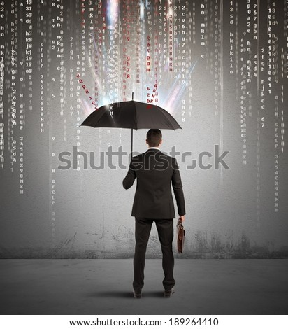 Antivirus and firewall concept with businessman protected with umbrella - stock photo