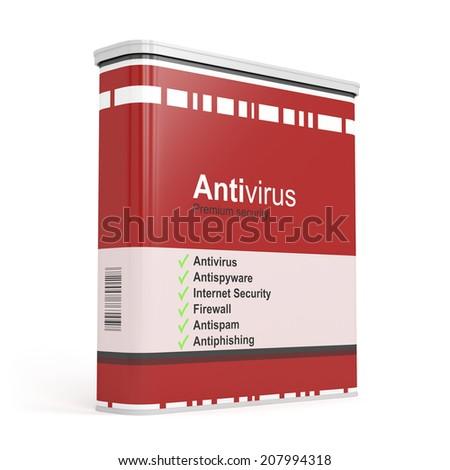 Antivirus software box on white background - stock photo