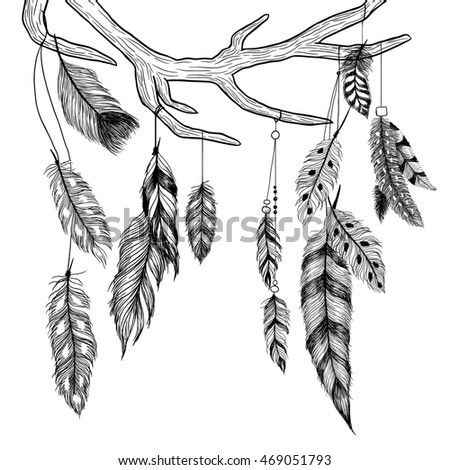 Antler and feathers. Boho illustration. Raster.