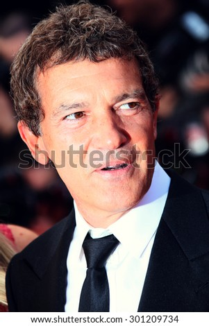 Antonio Banderas attends the 'Sicario' premiere during the 68th annual Cannes Film Festival on May 19, 2015 in Cannes, France. - stock photo
