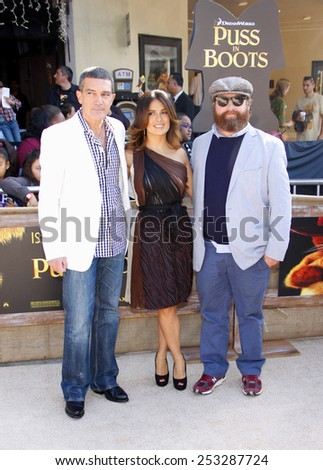 "Antonio Banderas, Salma Hayek and Zach Galifianakis at the Los Angeles Premiere of ""Puss In Boots"" held at the Regency Village Theater in Westwood, California, United States on October 23, 2011."