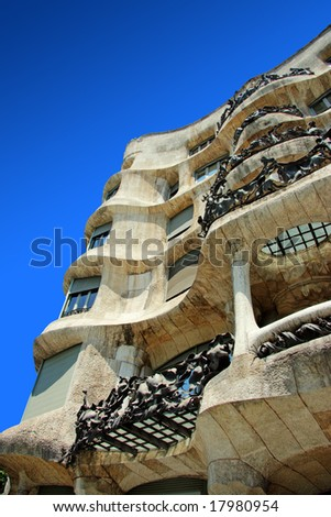 Antonio Gaudi Casa Mila or Pedrera in Barcelona - stock photo
