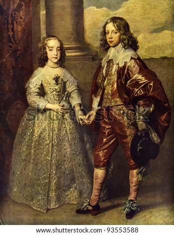 "Antoon van Dyck ""Princess Mary Stuart And Prince William"". Reproduction from illustrated Encyclopedia «Art galleries of Europe», Partnership «M. O. Wolf», St. Petersburg - Moscow, Russia , 1901"