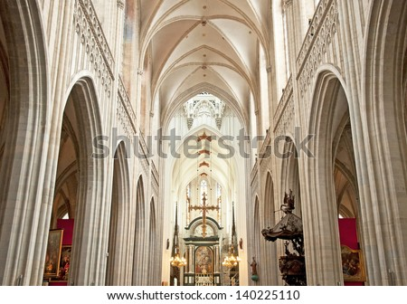 ANTWERP, BELGIUM - APRIL 21:Famous old cathedral in Antwerp, Belgium,  on April 21, 2013. The cathedral is on the list of World Heritage Sites.