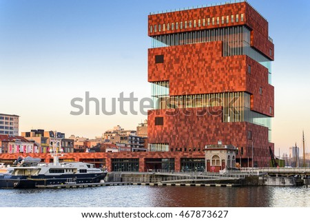 ANTWERP,BELGIUM - APRIL 11: The MAS on April 11, 2016 in Antwerp, Belgium. The museum collection tells the story of the city, the port and the world and on the roof of MAS, can see view of Antwerp.