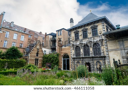 ANTWERP, BELGIUM - JULY 5, 2016 : Exterior view of Peter Paul Rubens House and garden. Rubens is famous Flemish Baroque painter and lived in this building until his death.