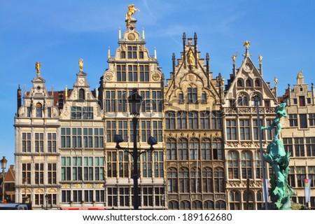 ANTWERP,BELGIUM-18 MARCH:Grote Markt on March 18,2014 in Antwerp..It is a capital of the Antwerp province of Belgium. Antwerp's population is 512,000 making it the second most populous city in Belgium - stock photo