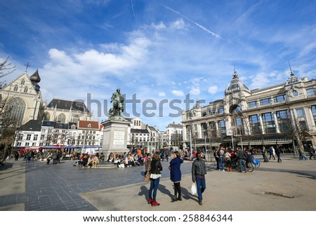 ANTWERP, BELGIUM - MARCH 7, 2015: View on the Groenplaats, the Central Square of Antwerp, Belgium, with the Statue of Rubens and the Hilton Hotel. - stock photo